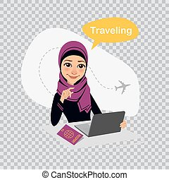 Travel illustration on transparent background. Travel to World. Arab woman works in office on laptop. Woman sells tickets