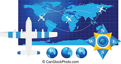 Travel illustration plane on map
