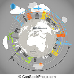 Travel illustration with color traces of modern planes -...