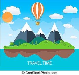 Travel illustration with landscape