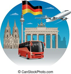 travel in germany - concept illustration of travel and tour...