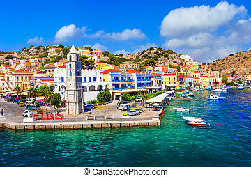 Travel in Greece - colorful Symi island. Dodecanese