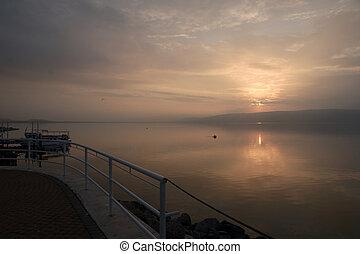travel in israel holy land kineret lake romatic sunsut