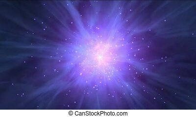 travel in space, flying nebula & rays laser in universe.