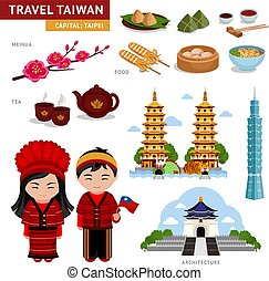 Travel in Taiwan. Taiwanese in national costumes.