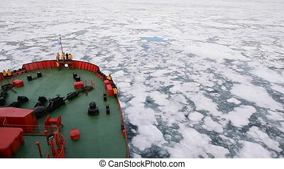 Travel In the ice , Arctic - Travel on the icebreaker in the...
