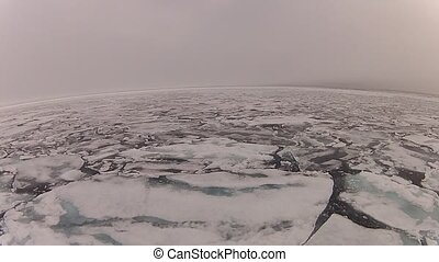 Travel on the ship In the ice , Arctic