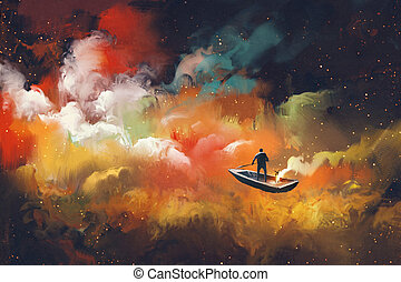 travel in the outer space - man on a boat in the outer space...