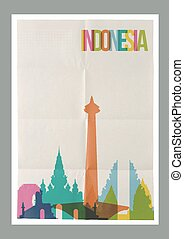 Travel Indonesia landmarks skyline vintage poster