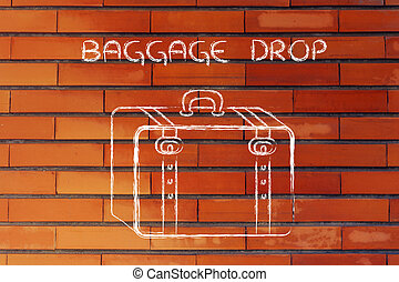 airplane travel and airport life: baggage drop