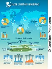 Tropic travel and vacations Info graphic vertical template