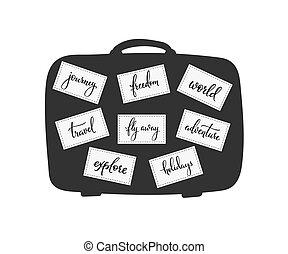 Travel inspiration words lettering set