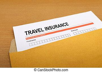 travel Insurance application form on brown envelope