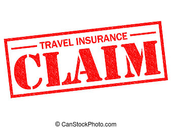TRAVEL INSURANCE CLAIM red Rubber Stamp over a white...