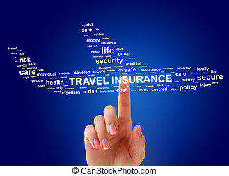 Travel insurance concept. Airplane and female hand.