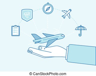 Travel insurance concept - illustration and infographics design elements