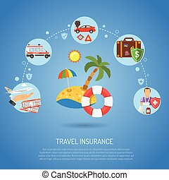 Travel Insurance Infographics for Poster, Web Site, Advertising like Beach, Aircraft, Ambulance, Car and Medicine.