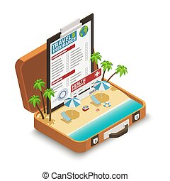 Travel Insurance Policy Isometric Composition - Travel...