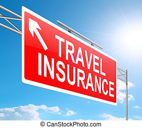 Illustration depicting a sign with a travel insurance concept.