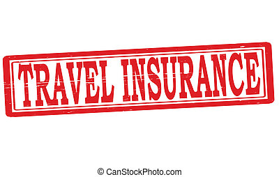 Stamp with text travel insurance inside, vector illustration