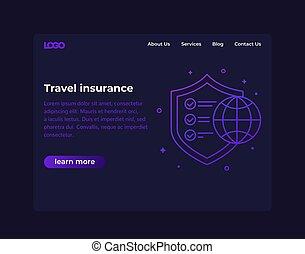 Travel insurance, website design, vector template