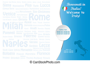 Travel Italy template vector with names of landmarks