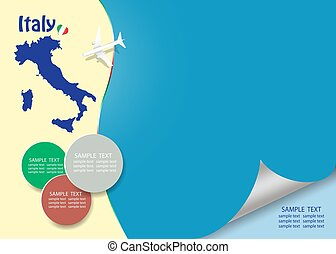 Travel Italy template vector with page curl effect