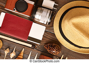 Travel items flat lay still life