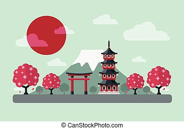 Travel to Japan. Japanese Famous Landmarks-Mount Fuji, Tori Gate, Temple and Cherry Blossom Tree. Flat Design Style.