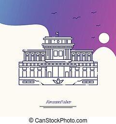 Travel KUMSUSAN PALACE Poster Template. Purple creative...