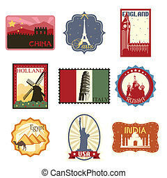 A vector illustration of world famous travel badges or labels