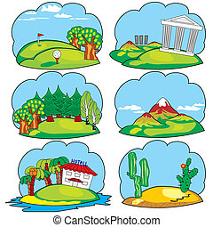 travel land - Set vector icons of a travel and leisure theme...
