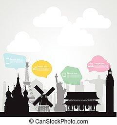 travel landmark communication background EPS10