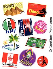 Travel landmark icon - World country travel landmark icon...