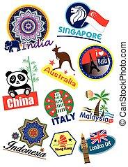 travel landmark icon set