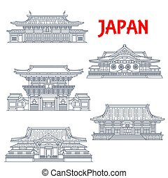 Japanese travel landmark vector icons. Shingon Buddhist temple Gokoku-ji, Imperial Shrine of Yasukuni and Zen Buddhist Sengaku-ji Temple, Kanda Myojin Shrine and Confucian temple Yushima Seido