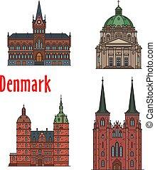 Travel landmark of Kingdom of Denmark icon set - Danish...