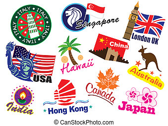 Travel landmark - World country travel landmark icon set
