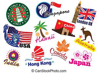 World country travel landmark icon set