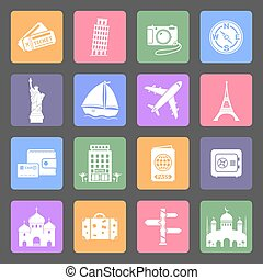 Travel & Landmarks flat icons set