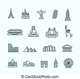 Travel landmarks line icon set - Flat line design style...