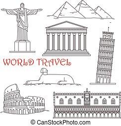 Travel landmarks of Italy, Brazil, Greece, Africa