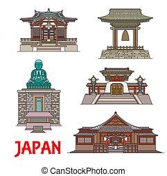 Travel landmarks of Japan, thin line buildings