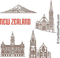 Travel landmarks of New Zealand thin line icon