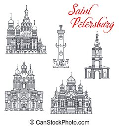 Saint Petersburg and Russia travel landmark vector icons. Church of Savior on Spilled Blood, Smolny Cathedral and Church of Assumption of Blessed Mary, Rostral Columns, Bell Tower of Anna Church