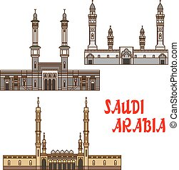Travel landmarks of Saudi Arabia icon with mosques