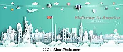 Travel landmarks United States of America famous monument architecture skyline.