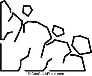 Travel landslide icon, outline style
