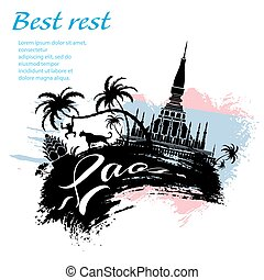 Travel Laos design in grunge style for Your business easy...