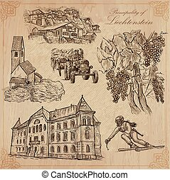 Travel, LIECHTENSTEIN. Collection of an hand drawn vector illustrations. Freehand sketching. Colored background is isolated. Easy Editable. This series with focus on: Vaduz, Agriculture and Sport.